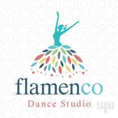Beautiful, elegant logo design of a dancing woman figure wearing a flowing floral leaf dress. (beauty, woman, elegance, gracefully, form, graceful, beautiful, girl, flamenco, dance, studio, choreography, lesson, ballet, ballroom, instructor, leaves, flower, dress, leaves, colourful)