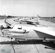Line up of French Marine Nationale  Crouze (Vought Crusader) at Tours 26 June 1973.