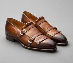 Handmade Mens Elegant Brown Fringe Shoes, Leather Monk Shoes for Mens sold by Rangoli Collection. Shop more products from Rangoli Collection on Storenvy, the home of independent small businesses all over the world. Tan Shoes, Sock Shoes, Oxford Shoes, Dress Shoes, Shoes Men, Suede Leather Shoes, Leather Buckle, Men's Leather, Cowhide Leather