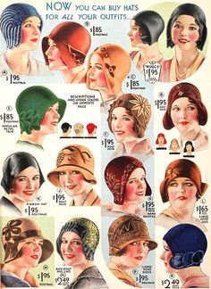 Cloche hat--a small, close-fitting hat that became popular thanks to the prominence of short hairstyles. The cloche hat could have small or larger brims that turned down around the face