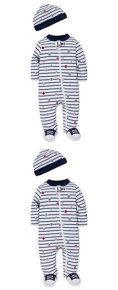 Little Me Boys' Newborn Footies, Navy Stripe, 6 Months