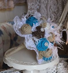 The Rhinestone Cowgirl Turquoise Burlap and Lace by GypsyFarmGirl