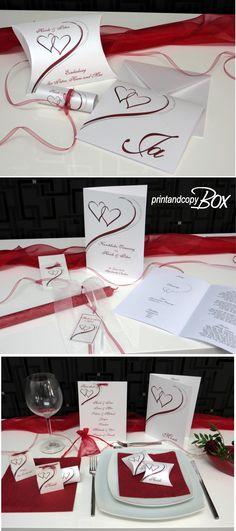 Hochzeitseinladung perfekt gestaltet: Stylisches Kartenset zur Hochzeit in angesagtem rot