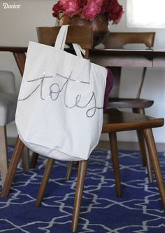 This DIY tote bag project is so simple you can whip up it up in 30 minutes or less, and cute enough to make a fun gift! Just pick a cute word & get to work! Diy Tote Bag, Reusable Tote Bags, Create Your Own, Create Yourself, Cute Words, So Little Time, Best Gifts, Crafty, Diy Totes