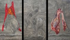 the bull and Europe triptych cm 360x220 pencil, white conté and pastel on paper on panel