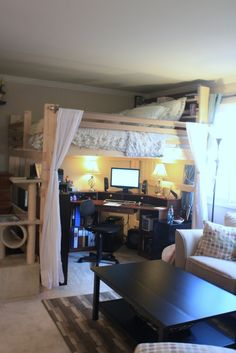 Small Space Family Living on Pinterest | Loft Beds, Double Loft Beds and Adult Loft Bed
