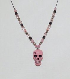 Pink Skull Pendant by 1View on Etsy