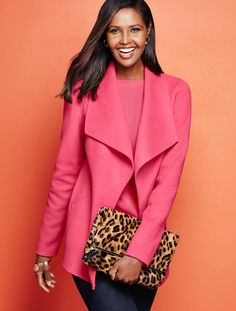 Talbots - Double-Face Wing-Collar Jacket | Fall 2015 Sweater jackets make me so happy. I detest suits. Detest. |