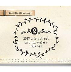 Custom Wood Return Address Stamp - Wood Handle - cute wedding or birthday gift - organic wreath - 1206. $21.95, via Etsy.    http://www.etsy.com/listing/102149775/custom-address-stamp-wood-handle-rubber