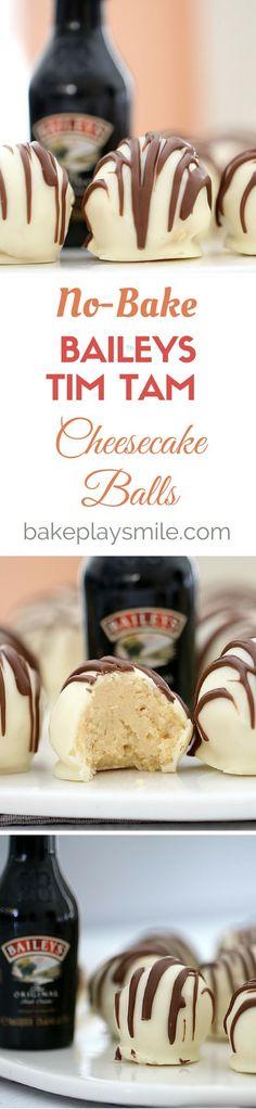 4 ingredient, no-bake Baileys Tim Tam Cheesecake Balls (xmas food breakfast) Candy Recipes, Sweet Recipes, Baking Recipes, Dessert Recipes, Tim Tam Cheesecake, Cheesecake Recipes, Baileys Cheesecake, Baileys Fudge, Kahlua Cake