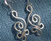 HAMMERED CELTIC SWAN Earrings with Silver Aluminum Wire and Sterling Silver Hooks - Light to wear - Add a touch of Spring to your look