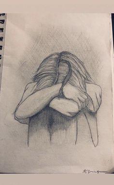 27 Ideas for quotes deep dark drawing Sad Sketches, Girl Drawing Sketches, Sad Drawings, Dark Art Drawings, Pencil Art Drawings, Sad Girl Drawing, Horse Drawings, Drawing Art, Emotional Drawings