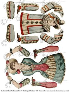 Vintage French Paper Puppets Printable Articulated Clown Paper Doll Puppet Blue Circus Jumping Jacks Digital Collage Sheet Instant Download