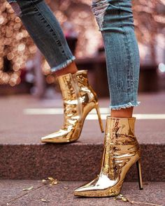 Leather Spool Heel Pumps Closed Toe Boots Ankle Boots With Zipper shoes VERYVOGA Women's Patent Leather Spool Heel Pumps Closed Toe Boots Ankle Boots With Zipper shoes Stilettos, Pumps Heels, Stiletto Heels, High Heels, Gold Heels, Flats, Shoes Sandals, Cute Shoes, Me Too Shoes