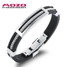Men Bracelet Stainless Steel Wire Silicone Bracelets Cool Man Casual Bracelet
