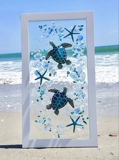 Coastal Wall Decor, Beach Wall Decor, Sea Glass Crafts, Sea Glass Art, Stained Glass, Diy Resin Art, Resin Crafts, Fun Crafts, Seashell Art