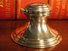 Beautiful Edwardian Art Deo Period Antique Sterling Silver Capstan Ink Well By Wilmott Co Birmingham London & Paris Hallmark 1928  A beautiful English sterling silver capstan ink well in typical period style with lift lid. The base is hallmarked with makers details W.M.Co, Birmingham assay office anchor, Sterlig silver Lion and D date letter for 1928. The lid has year letter and sterling lion mark.  The makers mark W.M.Co or W M Co into three circles is for Wilmott Manufacturing Co Birmin...