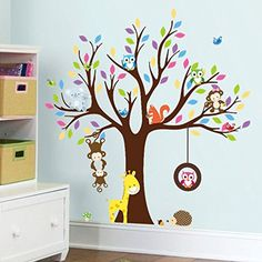 Zooarts Kids DIY Cartoon Forest Tree Monkey Elephant Owl Giraffe PVC Removable Mural Creative Home Decor Decrals For Kids Home Living Room Bedroom Bathroom Home Decoration >>> Click image to review more details. (This is an affiliate link) #WallDcor