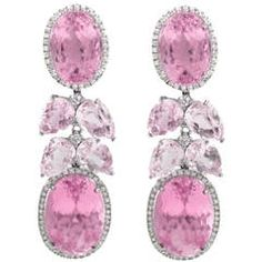 Kunzite Diamond  Waterfall Cluster Earrings