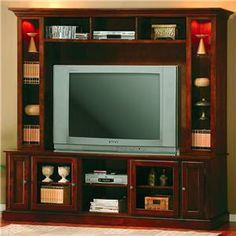 Coaster Furniture - Entertainment Center Media Console Hutch in Merlot Oak Finish - 700232 Entertainment Center Wall Unit, Entertainment Room, Entertainment System, Cool Diy, Cool Tv Stands, Coaster Furniture, Wall Storage, Planer, Home Kitchens