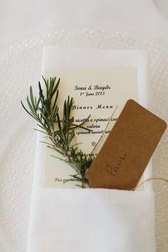 simple menu and place setting http://www.weddingchicks.com/2013/12/12/dreamy-tuscan-wedding/: