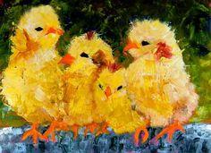 """Quarrtro Pulcini""  Chickens, Art"