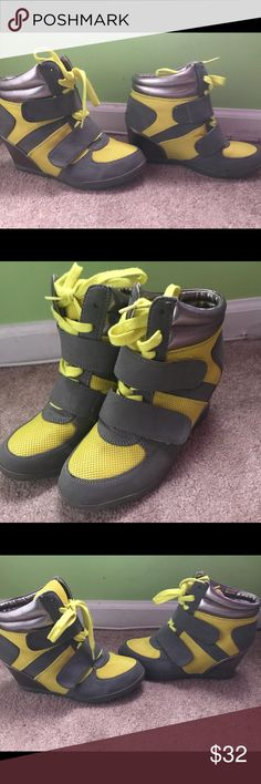 Yellow and Grey Sneakers Heels💛 2 inch heeled sneaker. Has been wore a few times. Wanteds Shoes Sneakers