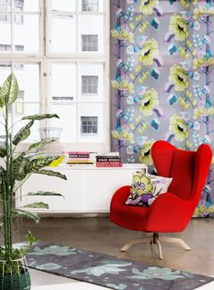Vallila Interior AW14 collection, Silkkisuukko curtain & Clematis rug