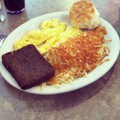 Livermush, eggs, hash browns & biscuits at Skyland Family Restaurant (Charlotte, NC)