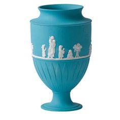 Wedgwood Jasper Classic White on Turquoise Large Vase