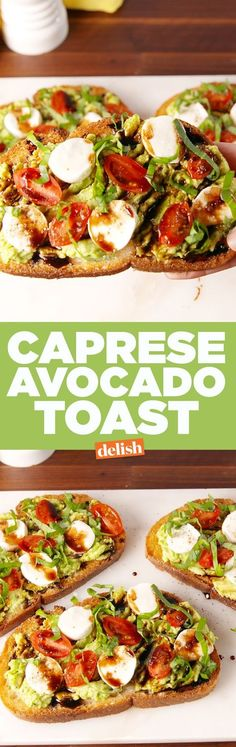 Caprese Avocado Toast Is The Best Breakfast EverDelish Use toasted LC mission tortilla chips) Appetizer Recipes, Lunch Recipes, Diet Recipes, Vegetarian Recipes, Cooking Recipes, Healthy Recipes, Appetizers, Recipies, Avocado Dessert