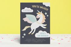 """""""Magical Pegasus"""" - Customizable Foil-pressed Children's Birthday Party Invitations in Blue or Gold by peetie design. New Baby Greetings, Graduation Greetings, Unicorn Themed Birthday, Valentine's Day Greeting Cards, Graduation Party Invitations, Personalized Stationery, Valentine Day Cards, Paper Gifts, Pegasus"""