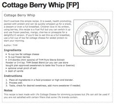EXCLUSIVE Trim Healthy Mama Recipe - Cottage Berry Whip. Use truvia instead