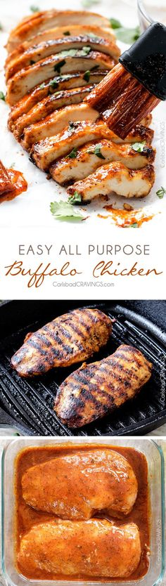 All Purpose Buffalo Chicken is SO juicy and flavorful from the easy marinade and is a meal all by itself or instantly transforms salads, sandwiches, wraps, tacos, etc into the most flavor bursting meal EVER! I love having this chicken on hand! No honey Chicken Marinade Recipes, Chicken Marinades, Grilling Recipes, Cooking Recipes, Healthy Recipes, Healthy Grilling, Comida Diy, Grilled Chicken, Main Meals