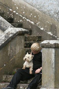 Jason and dog Charlie at Cregg Castle, Ireland