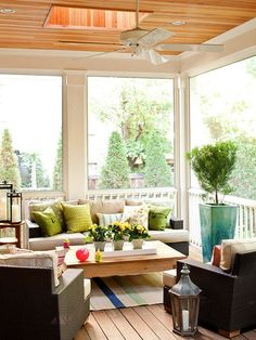 This indoor patio is perfect for entertaining friends and family! More indoor porches you'll love: Rooms Outdoor Rooms, Outdoor Living, Outdoor Furniture Sets, Modern Furniture, Wicker Furniture, Outdoor Couch, Outdoor Patios, Outdoor Kitchens, Furniture Layout