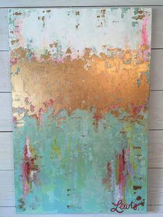 Artículos similares a Verde y azul de pintura abstracta original en Etsy