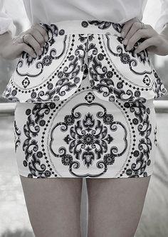 black and white Baroque w peplum detail mini skirt