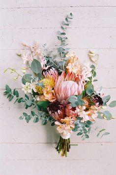 protea wedding bouquets wendy laurel - Carol's World Protea Wedding, Boquette Wedding, Spring Wedding Flowers, Flower Bouquet Wedding, Wedding Colors, Wedding Hacks, Trendy Wedding, Wedding Ideas, Wedding Inspiration