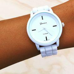 Gogo Lush all white Geneva silicone band sporty watch!