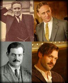 "Casting of ""Midnight in Paris"" Tom Hiddleston as F. Scott Fitzgerald. Corey Stoll as Ernest Hemingway."