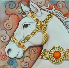 Festival Horse is an Acrylic On Canvas (AOC) painting of size by Suhas Das Pichwai Paintings, Indian Art Paintings, Kerala Mural Painting, Madhubani Painting, Madhubani Art, Indian Folk Art, Marble Art, Krishna Art, Environmental Art