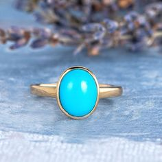 Turquoise Ring Yellow Gold Engagement Ring 7x9mm Oval Cut Turquoise Engagement Solitaire Ring Bezel Set Minimalist Birthstone Women Antique Blue Rings, Yellow Gold Rings, Rose Gold Engagement Ring, Vintage Engagement Rings, Color Turquesa, Bridal Ring Sets, Handmade Rings, Antique Rings, Turquoise