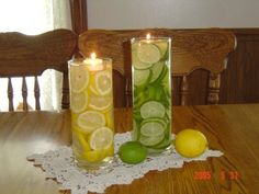 another simple, cheap, pretty table centrepiece for a lemon lime theme garden wedding. Can also inject food coloring
