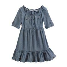 Chaps Ruffled Chambray Dress - Girls 4 - 6X Morgan - thanksgiving