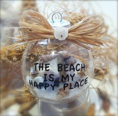 The beach is my happy place glass ornament. Beach ornament with saying.