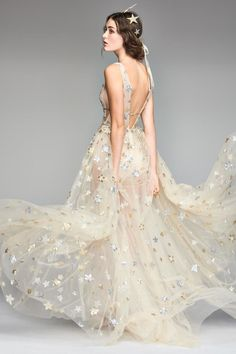 Celestial wedding gown - Orion Tulle & Charmeuse Plunging A-Line Gown Wedding Dress Trends, Best Wedding Dresses, Wedding Suits, Bridal Dresses, Wedding Gowns, Prom Dresses, Wedding Ideas, Wedding Planning, Wedding Decorations