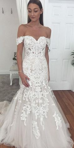 42 Off The Shoulder Wedding Dresses To See ♥ Off the shoulder wedding dresses are one of most popular looks among the numerous silhouette details. This type of dresses is elegant and feminine. #wedding #bride #weddingdress