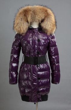 Moncler Women Long Down Coat With Big Fur Collar And Belt Purple Mens Rain  Jacket, a3631813b27