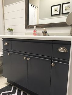 Well, it has been a few weeks since I completed my shiplap bathroom project and I have been loving the new look of my bathroom!  With one exception--the vanity.  I thought I could live with the laminate cabinets and countertop BUT I was wrong. The bathroom did not seem complete with the dated lookin